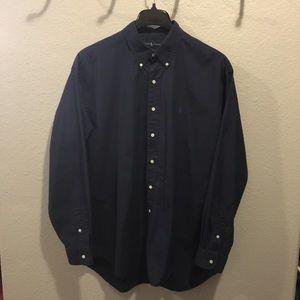 Ralph Lauren Mens Blake Navy Button-down Shirt